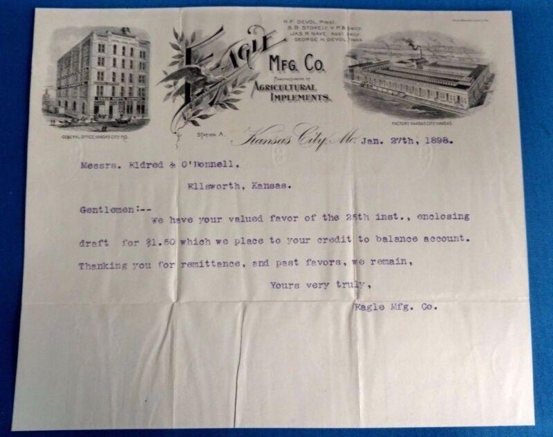 Antique Vintage EAGLE oil fertilizer agriculture letter factory Kansas City