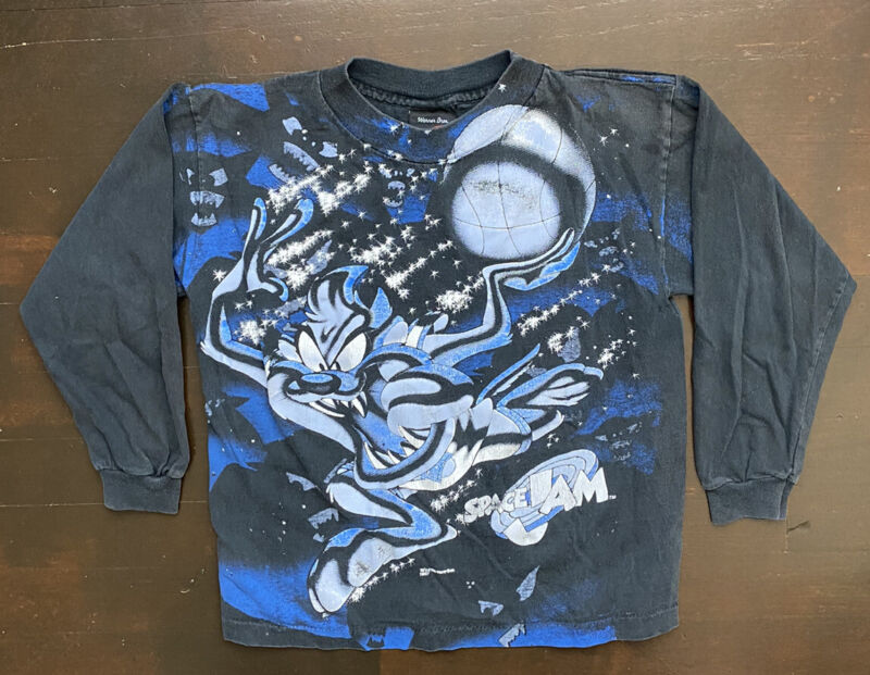 Vintage Taz Space Jam Faded Black Long Sleeve T Shirt Youth Small 8/10 USA 90s