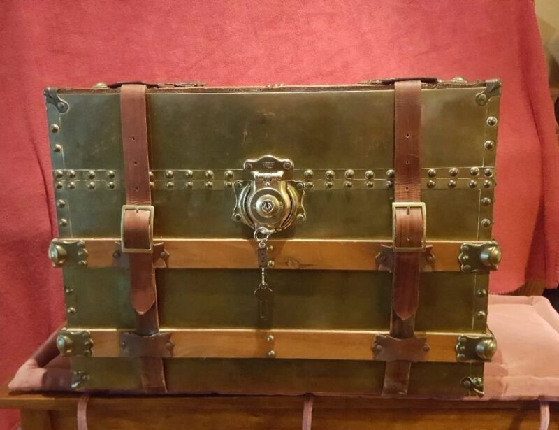 Vintage Brass, Wood and Leather Straps Medium Size Trunk
