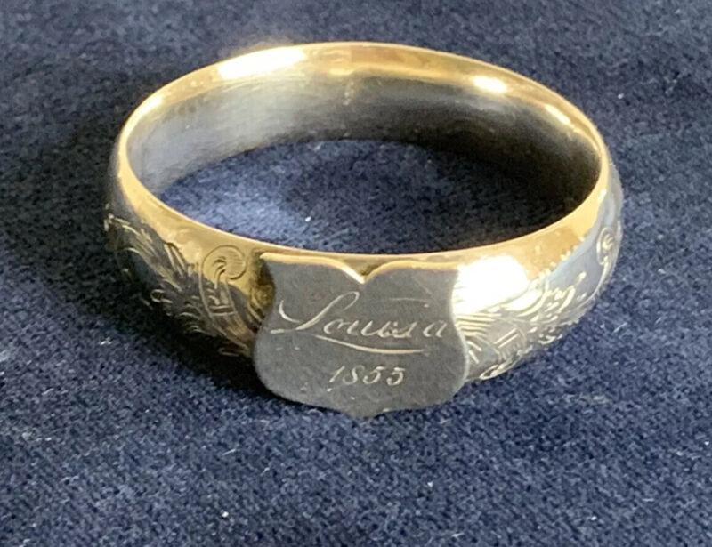 Antique Silver Napkin Ring Engraved 1855