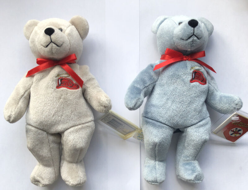 Original Holy Bears God Bless Our Firefighters Plush w Tags Lot of 2 Stitched