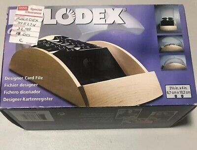 Rolodex Office Designer Card File Light Wood Smoked Cover 200 Slotted Cards New