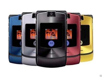 Original Motorola RAZR V3 Flip Mobile Phone Unlocked Cellphone Camera Bluetooth