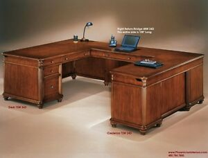executive u shaped desk with fancy desktop cherry wood