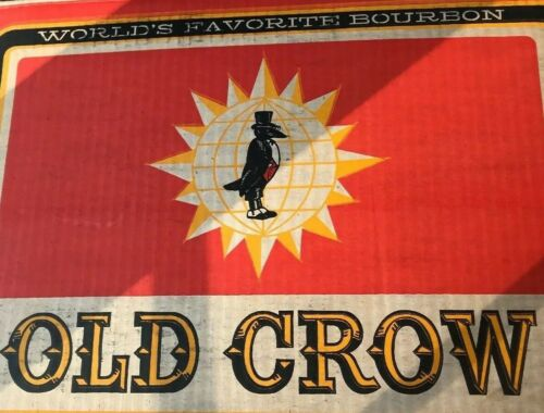 VTG Old Crow Bourbon Whiskey 1/2 Gallon Case Empty Box Great Graphics Ad