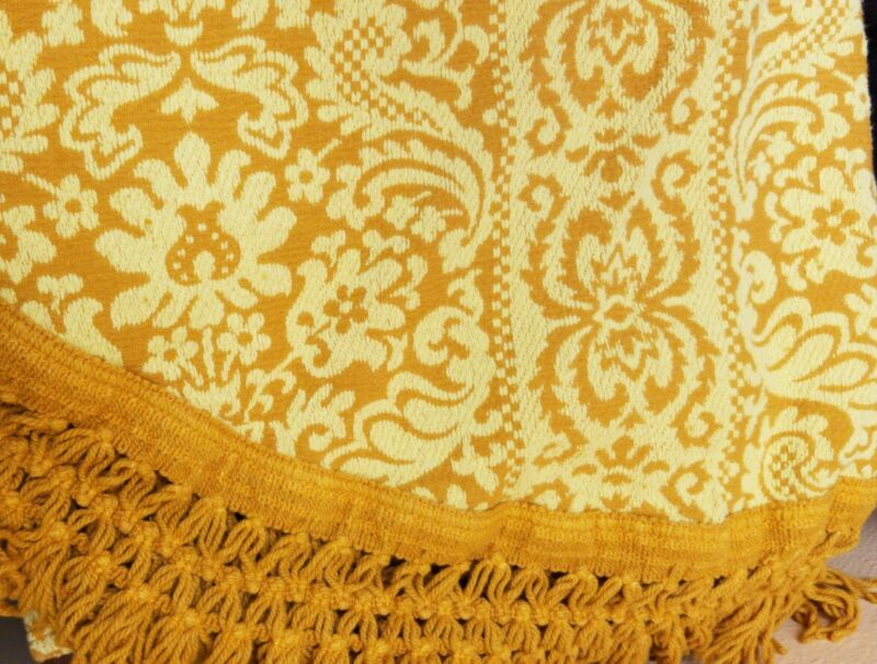 BATES Bedspread Vintage DUAL KING Yellow Gold USA Fringe Chenille Cotton Hip 70s