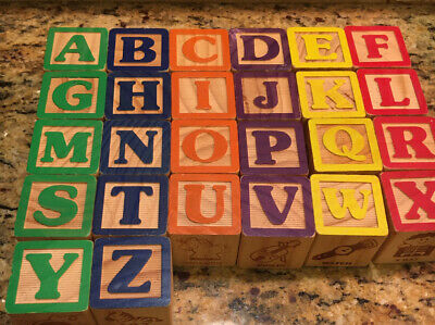 50 Wooden Blocks ABC Alphabet and Numbers, Colorful with pictures