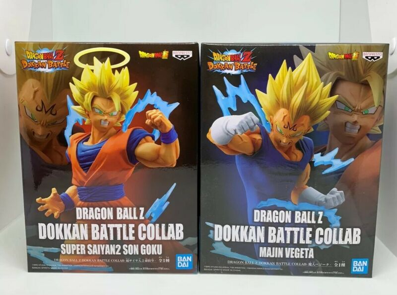 Dragon Ball Z Dokkan Battle Collab Super Saiyan Goku & Vegeta Set of 2 Banpresto