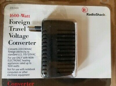 Foreign Travel Voltage Converter 1600 Watt  From Radioshack. New 1600 Watt Travel Converter