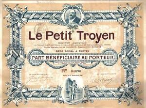 Original-France-bond-1907-Le-Petit-Troyen-Uncancelled-coupons-TOP-DECO