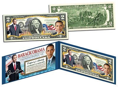 Barack Obama Usa President Official Colorized Legal Tender Colorized Us  2 Bill