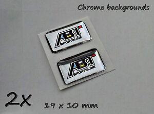 2x Audi ABT 3D Aufkleber-Set für Schlüssel, Handy, Tablet... Chrom-Effekt