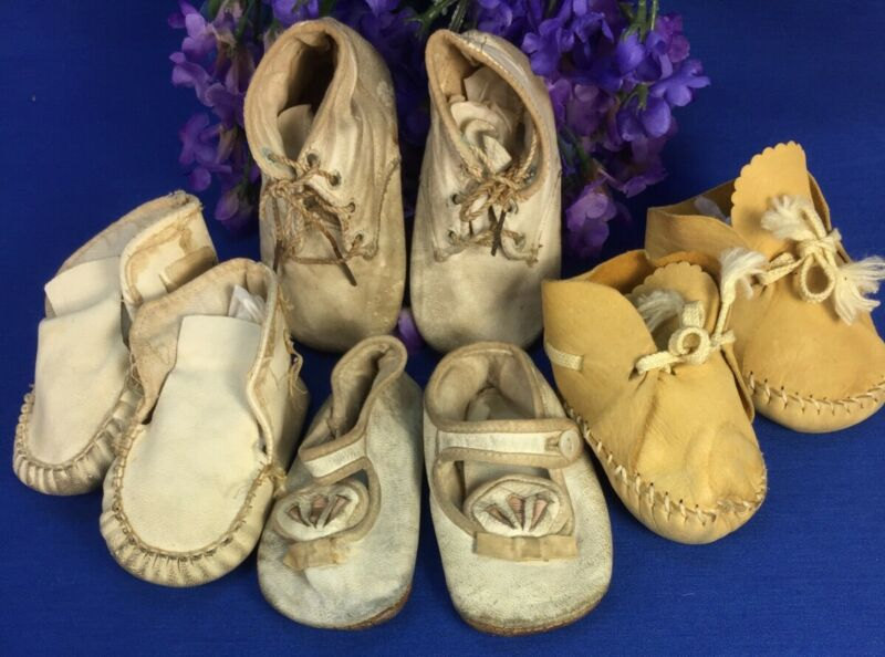 Vintage Leather Baby Shoes and for Dolls Lot of 4 Pairs