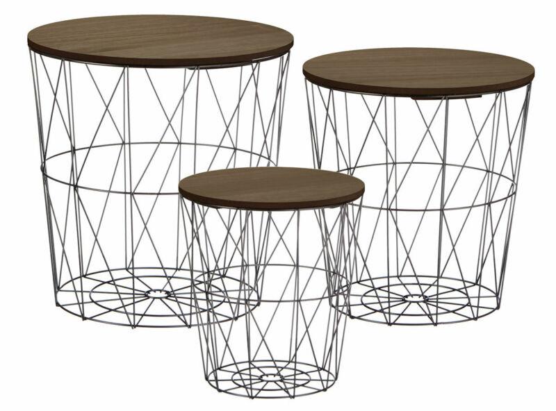 Metall Korb Beistelltisch dunkel - 3er Set - Sofatisch Couchtisch Korb Tisch