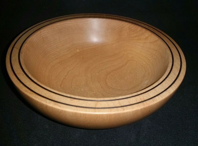 Dovecote Woodworking Birdseye Eastern Hard Maple Turned Wood Bowl burn lines
