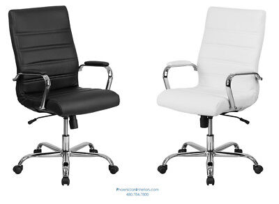 12 High Back Conference Desk Office Chairs Black Or White Leather Padded Arms
