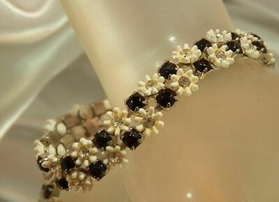 Black Rhinestone White Plastic Flower Bracelet Leru Signed Vintage 50's 22D9