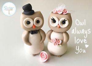 OWL BIRD BRIDE AND GROOM WEDDING CAKE TOPPER ENGAGEMENT ANNIVERSARY