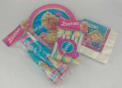 Mattel Barbie Vintage 1990 4 Piece Birthday Party Supplies Reed By Paper Art NEW ()