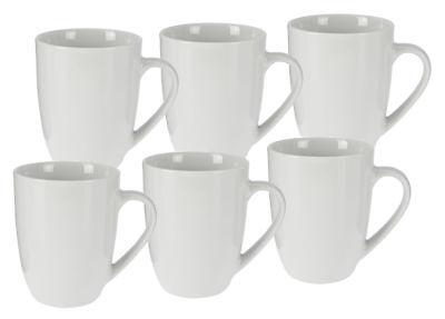 Kaffeetasse 350 ml aus Porzellan - 6er Set / weiß - Kaffeebecher Tasse Becher Weiße Becher