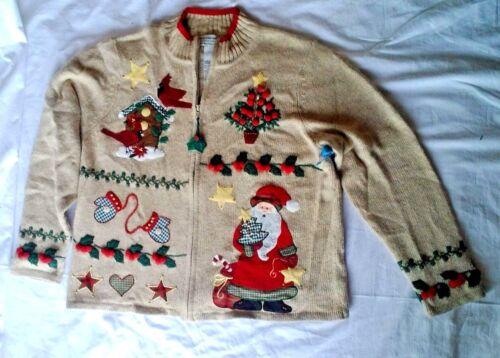 Bird Holly Santa Mittens Ugly Christmas Tiara International Sweater Large