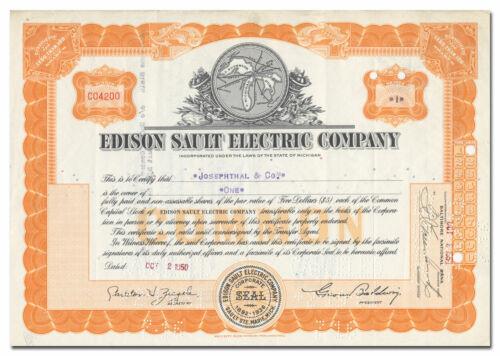 Edison Sault Electric Company Stock Certificate