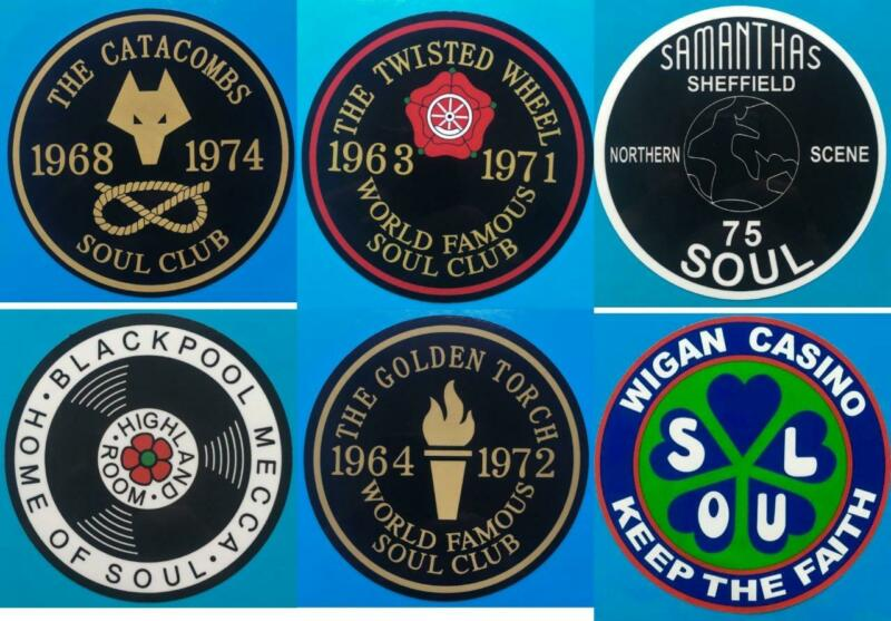 """NORTHERN SOUL RECORD BOX STICKER - SET OF 6 FAMOUS SOUL CLUB 4"""" STICKERS"""