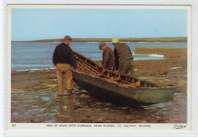 MEN OF ARAN WITH CURRACH, ARAN ISLANDS: Co Galway Ireland postcard (C30110)