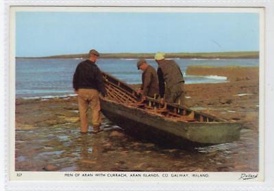 MEN OF ARAN WITH CURRACH, ARAN ISLANDS: Co Galway Ireland postcard (C30110)
