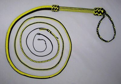 10Foot 16 Plait Black/Yellow NYLON Well-weighted  SHOT LOADED Real Bullwhip whip