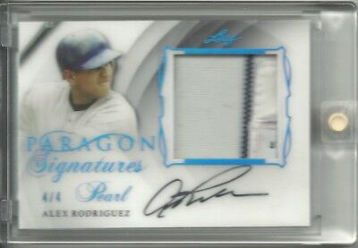 2017 LEAF PEARL PARAGON PLATINUM PARALLEL AUTO TAG ALEX RODRIGUEZ 4/4 YANKEES
