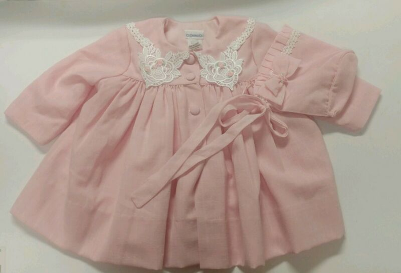 Vintage Baby Dress Coat &  Bonnet CI Castro USA Pink Roses 12 Mos Spring