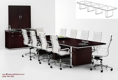 16 Foot Modern Expandable Conference Table With Grommets And 14 Chairs Set