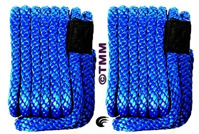 2  New Blue Solid Braid Mfp 3 8  X 15 Ft Boat Marine Dock Lines Mooring Ropes