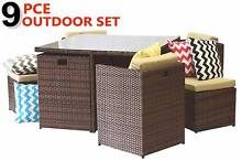NEW 9PC PERFECT WICKER OUTDOOR PATIO DINING SET Rattan Sofa Loung Melbourne CBD Melbourne City Preview