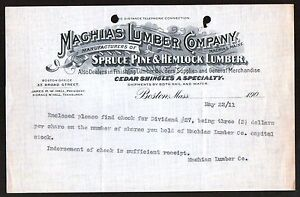 Machias-Lumber-Co-Spruce-Pine-Hemlock-Boston-MA-1911-Vintage-Letterhead-Rare