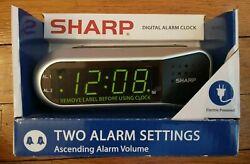 NEW Sharp SPC100D Digital Ascending Dual Alarm Clock Battery Backup 9min Snooze