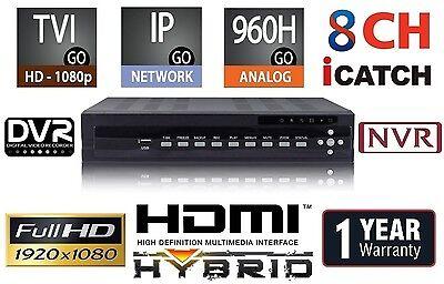 8 Channels HD Hybrid Security Recorder/NVR TVI/960H/IP/Cloud/Mobile/Audio 2TB 2 Tb Hybrid-recorder