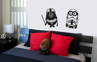 Star Wars Minions Wall Decal vinyl lettering sticker cute bedroom decor  - Star Wars Bedroom Decorations