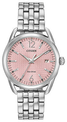 Citizen Eco-Drive Women's LTR Pink Dial Silver-Tone Band 36mm Watch FE6080-71X
