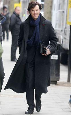 Detective Sherlock Holmes Benedict Real Black Wool Winter Trench Coat for Men](Overcoat Sherlock)