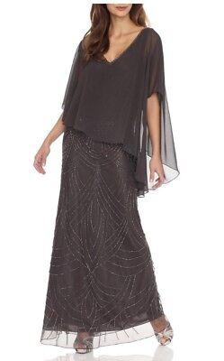 Used, NEW J Laxmi Women's 10 Grey Slate Sheer Capelet popover Long Dress Gown $259 for sale  Midvale