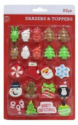 Navidad Lápiz Toopers Y Borradores 22 Paquete Regalo Stockng Relleno