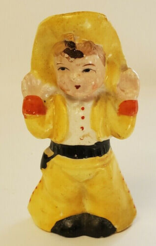"""Vintage Cowboy Salt or Pepper Shaker Japan 3 1/2"""" Tall Yellow Outfit"""