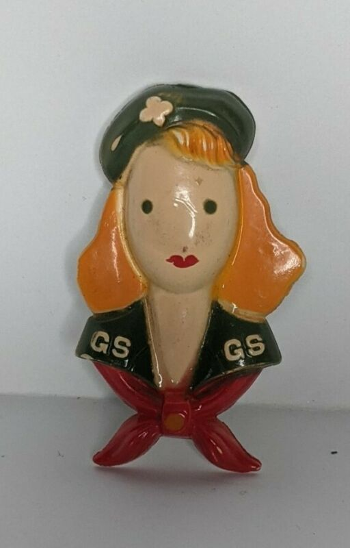 Vintage Girl Scouts of America plastic figural scout face pin brooch uniform