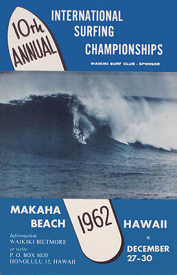 "1962  Makaha Hawaii   Rare Vintage  Surfing Contest   Poster   16""x24""   Giclee"