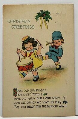 Christmas  Greetings Adorable Children Marching Band 1914 Postcard G11 Holiday Greetings Band