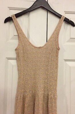 Anthropologie Free People Distressed vintage Look Dress Slip RN# 66170 100% Silk ()
