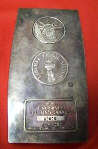 Engelhard-1986-Liberty-Trade-Bullion-Bar-999-Silver-100-Troy-Oz-RARE-z684
