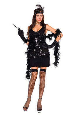 Sexy Adult Halloween Roaring Twenties Black Flapper Girl Costume w Stockings - Roaring Twenties Halloween Costumes